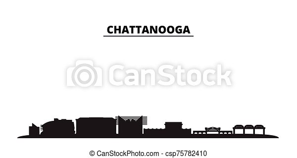 United States, Chattanooga city skyline isolated vector illustration. United States, Chattanooga travel black cityscape - csp75782410