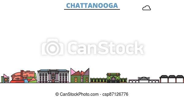 United States, Chattanooga line cityscape, flat vector. Travel city landmark, oultine illustration, line world icons - csp87126776