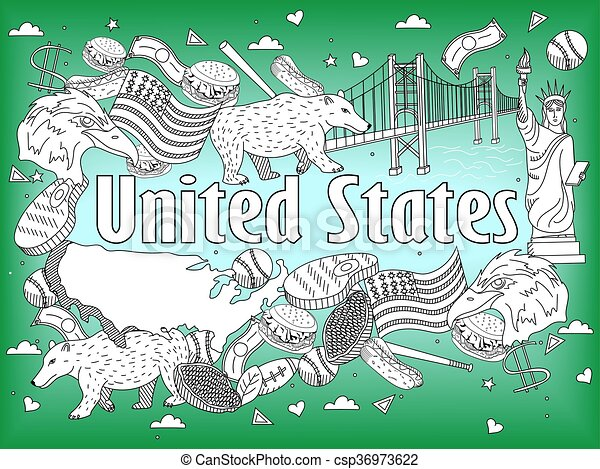 United states coloring book vector illustration. Vector line ...