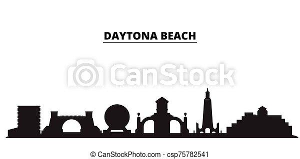 United States, Daytona Beach city skyline isolated vector illustration. United States, Daytona Beach travel black cityscape - csp75782541