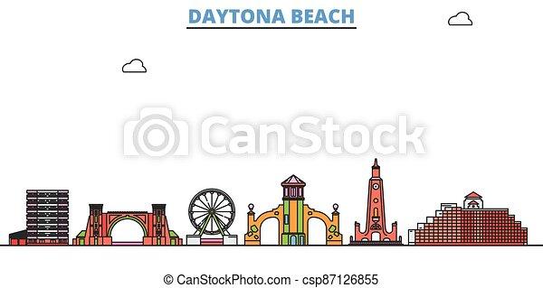 United States, Daytona Beach line cityscape, flat vector. Travel city landmark, oultine illustration, line world icons - csp87126855