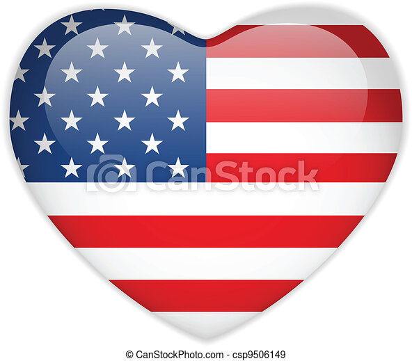 United States Flag Heart Glossy Button - csp9506149