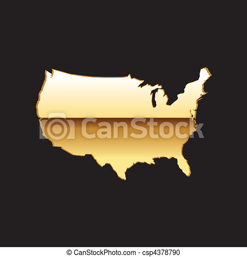 Clip Art Of Gold Us Map - Us gold maps