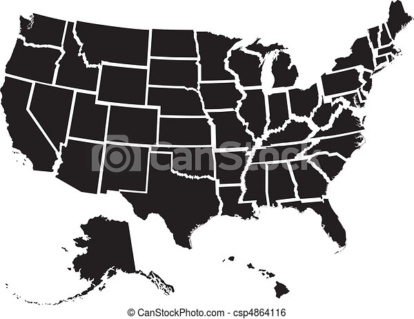 United states map. Very detailed vector file of all fifty states ...
