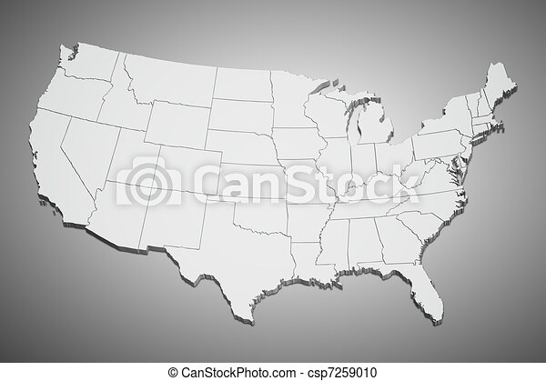 United States map on gray - csp7259010