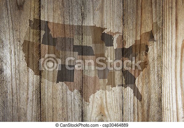 United States map on wooden background - csp30464889