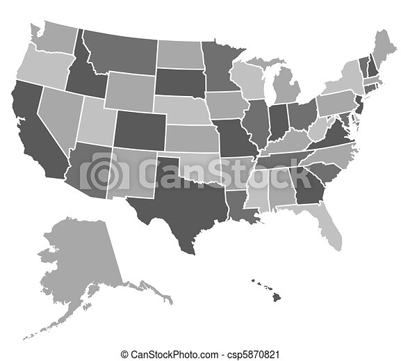 United states map. Map of the united states of america.