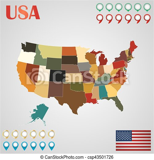 United States map with separated states, flag and geo - csp43501726