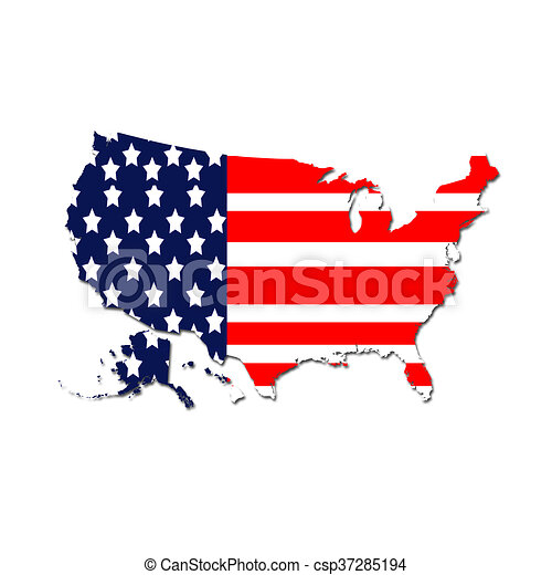 United states map with the flag colors background.