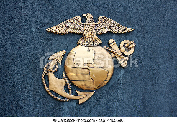 United States Marine Corps Insignia in Gold on Blue - csp14465596