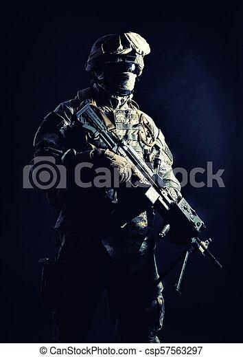 United States Marines machine gunner night shot - csp57563297