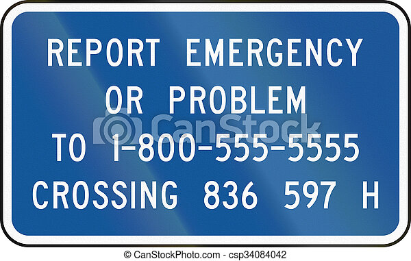 United States MUTCD road sign - Emergency number - csp34084042