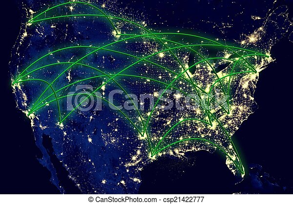 United states network map united states network night map earth united states network map csp21422777 gumiabroncs Image collections