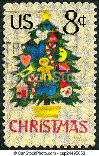 UNITED STATES OF AMERICA - 1973: shows Christmas Tree in Needlep - csp24495053