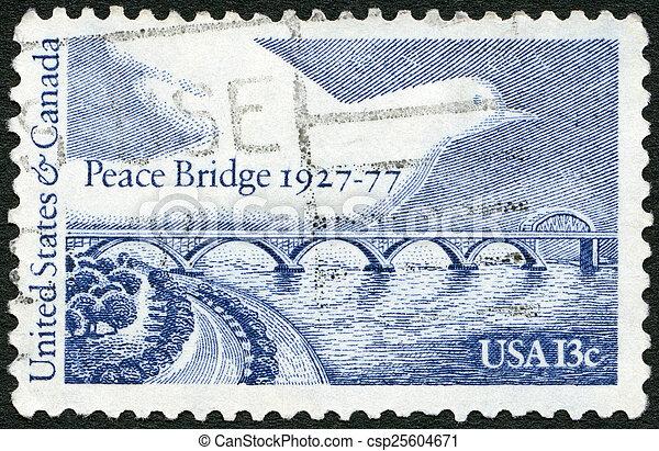 UNITED STATES OF AMERICA - 1977: shows Peace Bridge and Dove, de - csp25604671