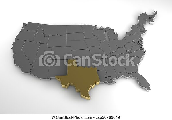 3d Map Of Texas.United States Of America 3d Metallic Map With Texas State Highlighted 3d Render