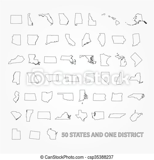 America 50 States Map.United States Of America 50 States And 1 Federal District Us States Map