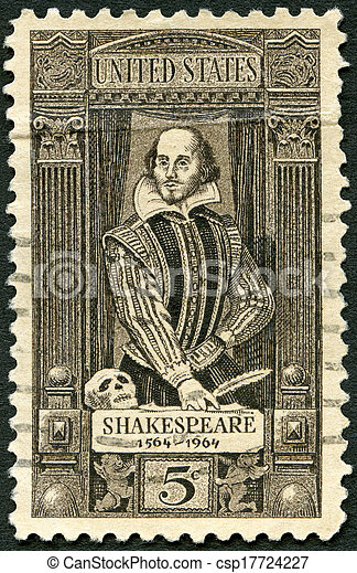 UNITED STATES OF AMERICA - CIRCA 1964: A stamp printed in USA shows William Shakespeare (1564-1616), 400th birth anniversary, circa 1964 - csp17724227