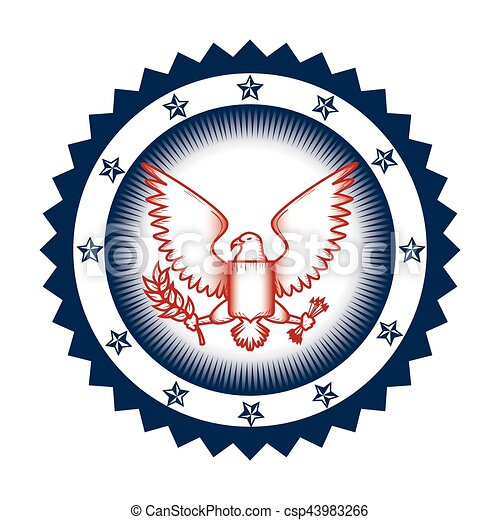 United States Of America Eagle Emblem Vector Illustration Design