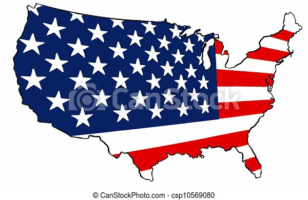 United States Of America Flag Map An Outline Map Of The Stock - Us map logo