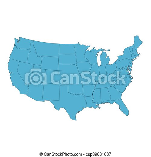United states of america map isolated on white vector - Search Clip ...