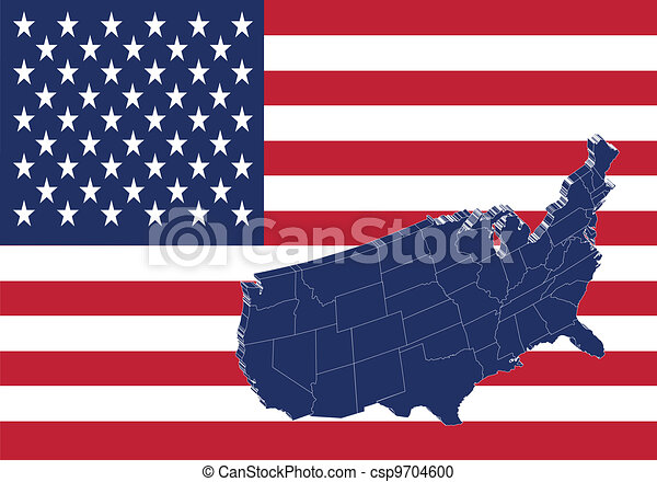 United states of America map & flag - csp9704600