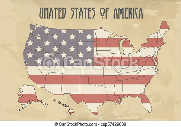 United states of America map with flag. North America. Illustration on  vintage background
