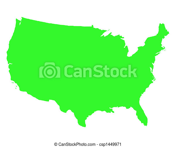 United states of america outline map in green, isolated on white ...