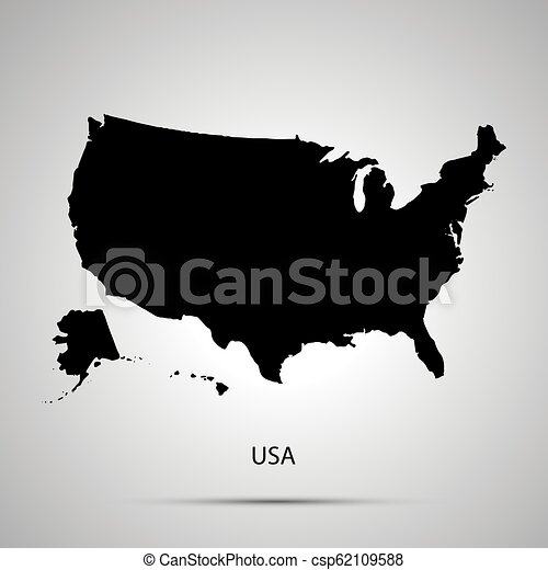 United States On America Country Map Simple Black Silhouette On Gray