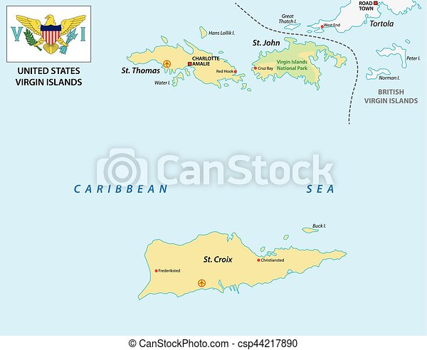 United states virgin islands map with flag. United states virgin ...