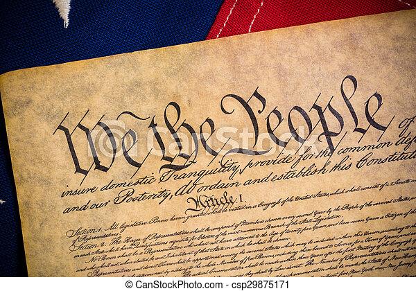 unito, costituzione, vendemmia, americano dichiara, bandiera - csp29875171