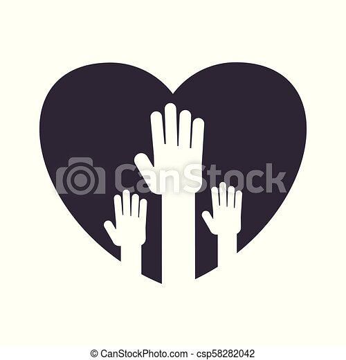 Unity Handpalm Heart Logo Logotype With The Symbol Of Unity Human Hands Are Raised Palms Open Work In A Team A Public