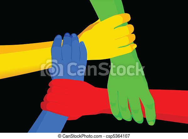 Line Drawing Unity : Unity in diversity stock vector of people holding hands vectors