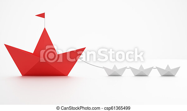 Unity is strength  Small paper boats that tow a bigger ship  Concept of  teamwork and alliance  3D Rendering