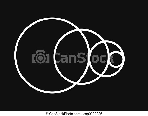 Line Drawing Unity : Black and white unity made with circles stock illustration