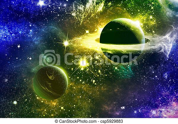 univers, galaxie, nebulas, planètes, étoiles - csp5929883