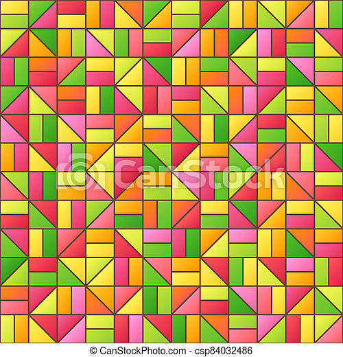 Universal Abstract Seamless Pattern of Simple Geometric Elements of Crimson, Green, Orange, Red, Pink, Yellow Colors. - csp84032486