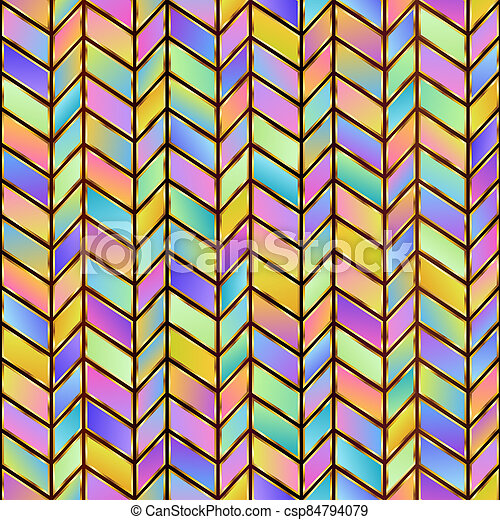 Universal Geometric Abstract Pastel Seamless Pattern of Gradient Blue, Lilac, Pink, Violet, Yellow Parallelograms with Stylized Gold Outline. - csp84794079