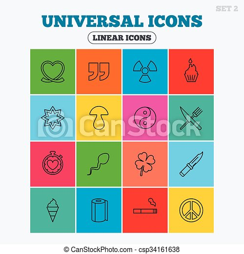 Universal icons. Quotes, ribbon heart and cake. - csp34161638