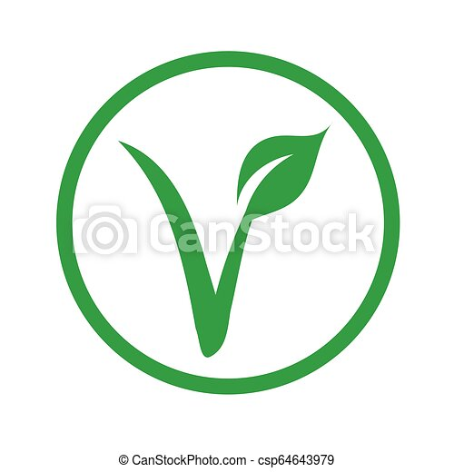 Universal vegetarian symbol- The V-label- V with a leaf, originated with  the European Vegetarian Union