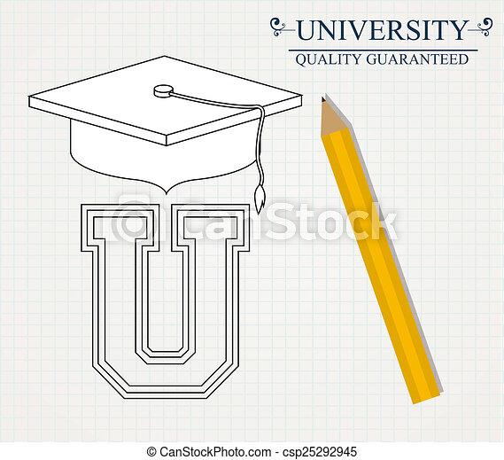 Diseño universitario, ilustración vectorial. - csp25292945