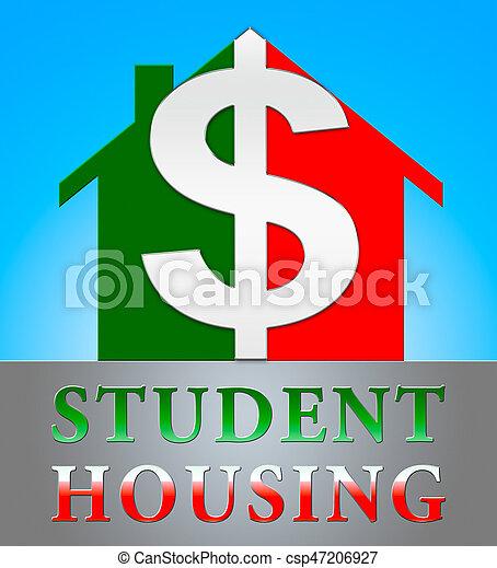 universiteit, woning, het tonen, illustratie, studentenhuisvesting, 3d - csp47206927
