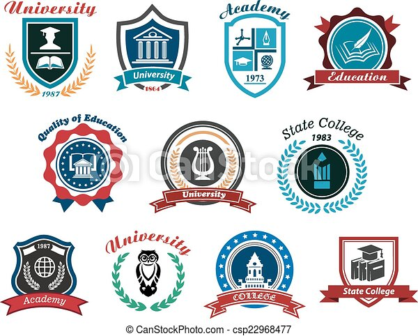 University, academy and college emblems or logos set - csp22968477