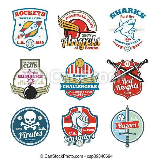 University and college school vector labels, logos, badges emblems set. T-shirt design - csp39346694