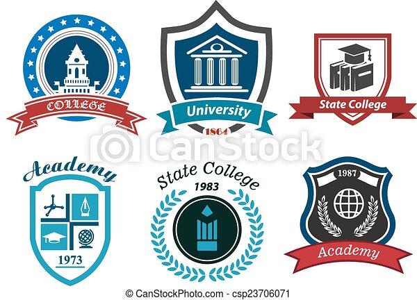 University, college and academy heraldic emblems - csp23706071