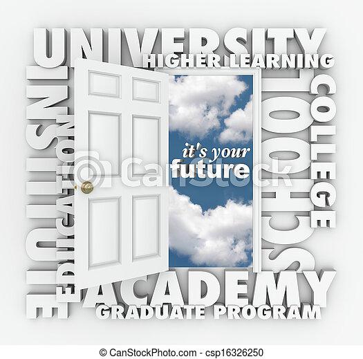 University College Words Open Door to Your Future  - csp16326250
