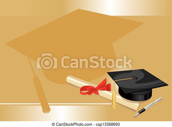 university degree college greeting card gold - csp13368693