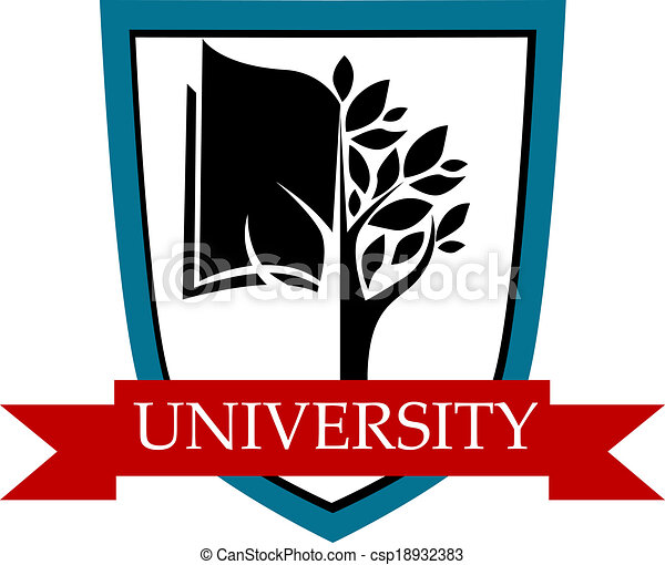 University emblem with shield and banner - csp18932383