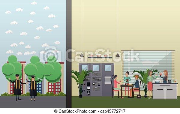 University laboratory, graduation vector illustration in flat style - csp45772717