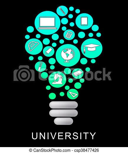 University Lightbulb Means Power Source And Academy University